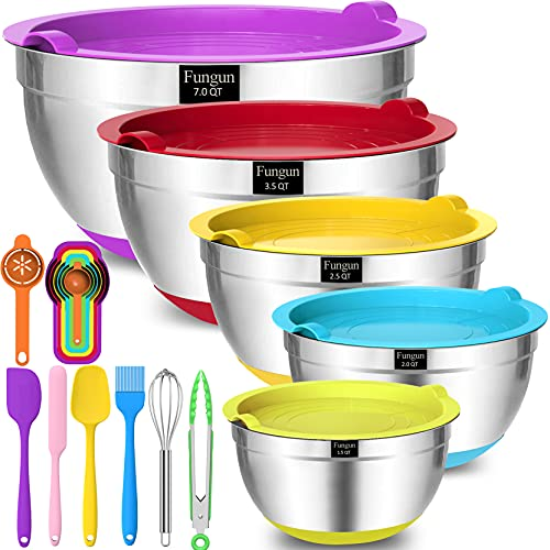 Mixing Bowls with Airtight Lids, Fungun 18 PCS Stainless Steel Colorful Nesting Mixing Bowls Set for Baking, Mixing, Serving & Nesting, Size, 7, 3.5, 2.5, 2, 1.5 qt, with Non-Slip Bottoms