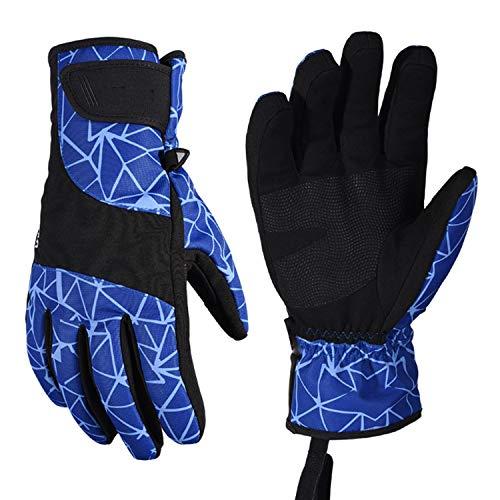 Ywzhushengmaoyi Herren Skihandschuhe Snowboardhandschuhe Motorradfahren Winterhandschuhe Winddicht wasserdicht Unisex Schnee Handschuhe, 1 Paar (Color : Blue, Size : L)