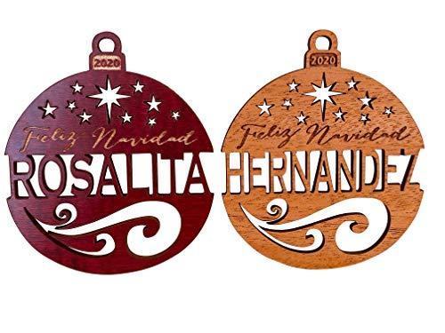 Personalized Feliz Navidad 2020 Wood Christmas Ornament