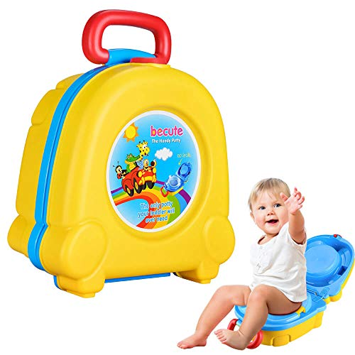 Portable Travel Potty Seat for Boys and Girls Safety's BeCute Potty Perfect for Camping Car Travel Suitable for Under 2 Years(Yellow)