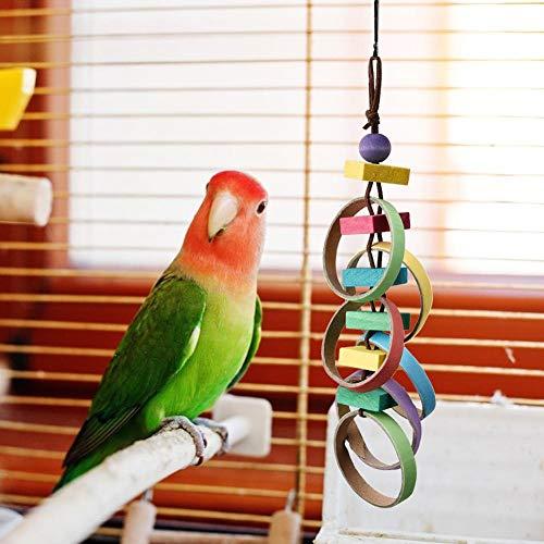 Pokerty9 Juguetes de Madera para jaulas de Loros, Juguete para mordeduras de pájaros, Juguete para pájaros para pájaros pequeños con Ganchos Jaula para pájaros