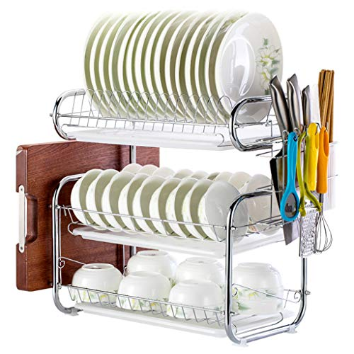 3-Tier Escurreplatos de acero inoxidable, Soportes para Platos Dish Drainer Dish Rack Holder Organización Estante con Bandeja de Goteo, Para Utensilios (B)