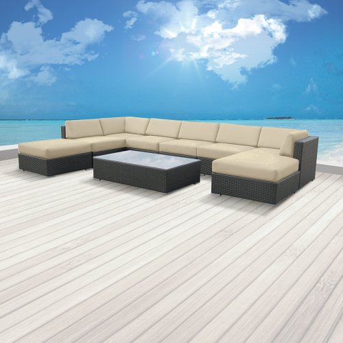 Hot Sale Luxxella Outdoor Patio Wicker MALLINA Sofa Sectional Furniture 9pc All Weather Couch Set LIGHT BEIGE