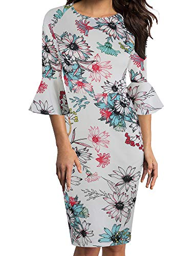 oxiuly Women's Casual Scoop Neck Floral Flare Sleeve Midi Work Sheath Dress OX292 (XXL, White Floral)