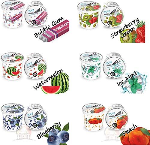 Ice Frutz Gel Dampfgel Shisha Gel Mixed Pack, 6 Sorten Wasserpfeife Gel Granulat Nikotinfreier Tabakersatz
