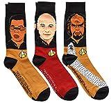 Star Trek Next Generation Picard Worf Geordi Men's Crew Socks 3 Pair Pack