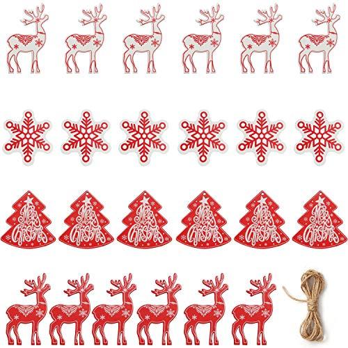 Decorazioni Natalizie in Legno (24pz) Addobbi Natalizi in Legno 4 Forme x 6 - Oggetti in Legno Natalizi con Spago per Addobbi Albero di Natale- Decorazioni Albero di Natale Renna, Neve e Albero Natale