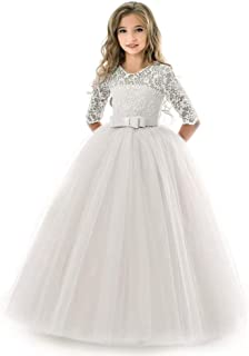 KISSOURBABY Girl Long Sleeve Lace Tutu Princess Pageant Dresses Kids Prom Ball Gown for 2-14 Years