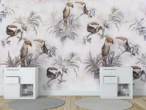Wallpaper 3D Wallpapers for Walls Mural Vintage Tropical Plant Toucan Wall Murals for Bedrooms and Living Room Tv Background Wall Mural Decoration Art 350cmx256cm