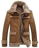 chouyatou Men's Winter Warm Dual Fur-Collar Sherpa Lined Suede Leather Barn Jacket (X-Large, Camel)