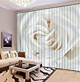 NBVGHJ Cortinas Opacas De Lujo 3D para Ventana, Cortinas Opacas 3D con Estampado De Rosas Blancas para Sala De Estar, Cortinas para Sala De Estar, Ojales (Ancho) 400 × (Alto) 270cm