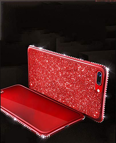 Artfeel Bling Briller Coque pour Samsung Galaxy S7 Edge, Brillant Diamant Cristal Strass Ultra Mince Souple Silicone TPU Arrière Étui,Placage Cadre Pare-Chocs Antichoc Housse Couverture-Rouge