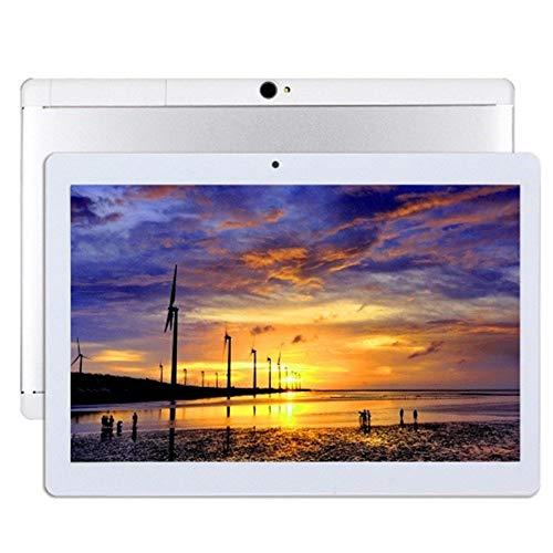 Android 9.0 Tableta de 10 Pulgadas con WiFi de Cuatro núcleos Navegación Bluetooth 4GB RAM 64GB de Memoria Dual SIM 3G también es un teléfono móvil (White) (Silver)