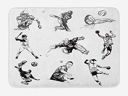 Juziwen Olympics Bath Mat, Basketball Football Volleyball Cricket Tennis Players Athletes Illustration Print, Plush Bathroom Decor Mat with Non Slip Backing,Black White 60x40cm