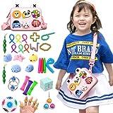 KOWOOK 33Pcs Sensory Fidget Toy Set, Fidget Pack Sensory Relieves Stress Anxiety for Kids Adults (Pink)