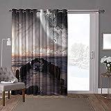 YUAZHOQI Cortina separadora de habitación con ojales térmicos, espacios, viejos muelle mar y playa, 100 x 108 pulgadas de ancho cortinas de cristal para ventana (1 panel)