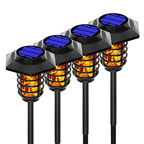 TOPIND Solar Torch Lights, Flame Lights Waterproof Solar Garden Lights with Two Modes,Outdoor Landscape Decoration Lighting for Yard Garden Pathway (Large 4Pack)