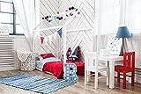 Sweet Home from Wood Montessori Bett – Holzhausbett für Kleinkinder und Kinder. Skandinavisches Design Bodenbettrahmen für Kinderzimmer. (Weiß)
