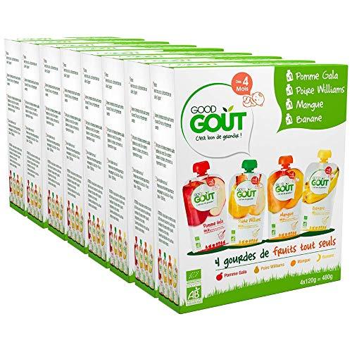 Good Goût - BIO - Lot 32 gourdes Purée de fruits dès 4 mois 120g (8 gourdes Mangue 120g + 8 gourdes Pomme Gala 120g + 8 gourdes Poire Williams 120g + 8 gourdes Banane 120g) - Pack de 32