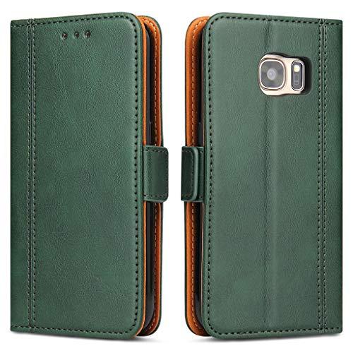Bozon Handyhülle für Samsung Galaxy S7, Lederhülle mit Kartenfächer, Schutzhülle mit Standfunktion, Grün