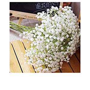 Rickitrty Artificial Breath Gypsophila Bouquets Real Touch Flowers, European Fake Silk Real Touch Bouquet of Flowers for Wedding Home Garden DIY Décor Hotel Table Decoration 15.79″