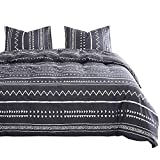 Wake In Cloud - Aztec Comforter Set, 100% Cotton Fabric with Soft Microfiber Fill Bedding, Dark Gray Grey with White Geometric Modern Pattern Printed (3pcs, Queen Size)