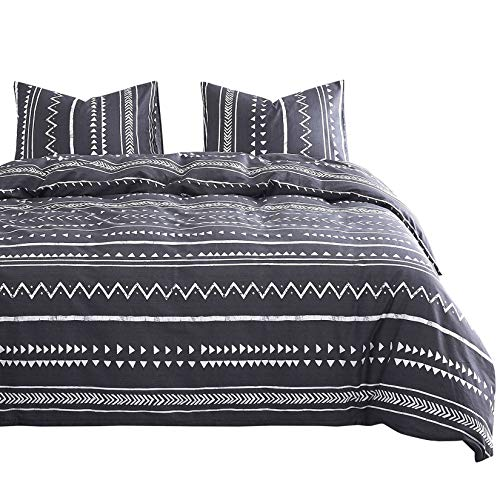 Wake In Cloud - Aztec Duvet Cover Set, 100% Cotton Bedding, Dark Gray Grey with White Geometric Modern Pattern Printed, with Zipper Closure (3pcs, King Size)