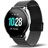 Smart Watch with Blood Pressure Heart Rate Blood Oxygen Monitor, IP68 Waterproof 1.3' Color Touch Screen Fitness Tracker, Step Calorie Counter Sleep Monitor Music Control for Women Men Kids (Black)