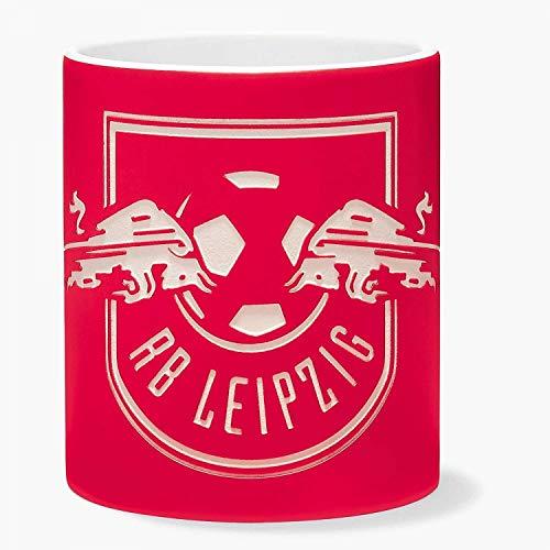 RB Leipzig Tasse - Logo sandgestrahlt - rot Kaffeebecher RBL Becher, Mug - Plus Lesezeichen Wir lieben Fußball