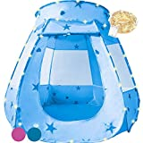 KingBee Blue Pop Up Ball Pit Play Tent with Lights - Toys Gifts for Kids Girl Boy 3 4 5 6 Year Old - Baby and Toddler Will Loves it. Easy Pop Up and Fold No Assembly Required - Indoor Outdoor Use