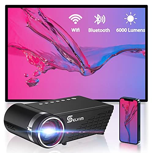 Selvim WiFi Proiettore Portatile per Telefono, Supporta 1080P Full HD con 6000 Lumens, 60000 Ore di Durata della Lampada, Ampia Compatibile per iOS Android TV Box Laptop PS4