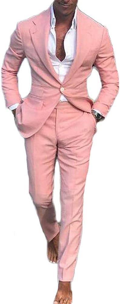 Men Pink Slim Fit 2 Pieces Summer Suit Business Suit Wedding Suits Groom Tuxedos
