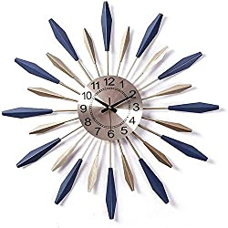 AWJ Sunburst Decor Silent Clock, Fashion 3D Metal Star Burst Wall Clock, Silent Non Ticking Modern Quartz Decor Wall Clock