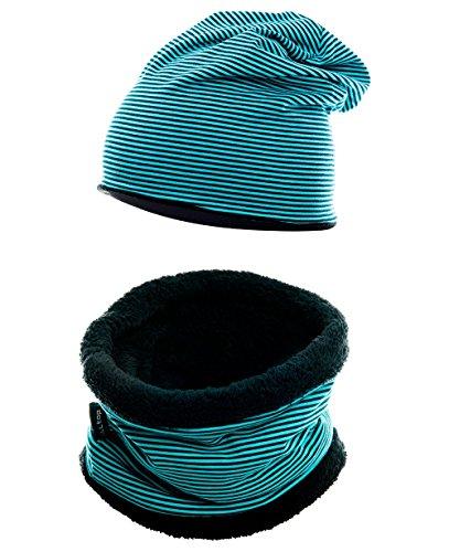 Hilltop Kinder Set: Kinder Kurz-LOOP-Schal mit Teddy Fleece und passende Beanie-Mütze, Kinder Set/Farbe:Kopfumfang 52-58 cm. 354-2
