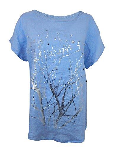 Blusenshirt Tunika 40 42 44 M - L blau Silber Perlen Shirt Leinenbluse Made in Italy