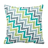 Blue Gray Green Zigzag Pattern Pillows Square Decorative Cushion Cover
