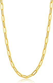 SISGEM 18K Yellow Gold Paperclip Link Chain Necklace for Women, 1.2MM Gold Italian Durable Chain Necklace Jewelry for Her,...