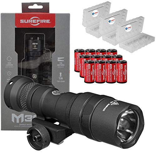 SureFire M300 Ultra Compact Mini Scout LED WeaponLight 500 Lumens Bundle with 12x Extra CR123A Batteries & 3 Battery Cases