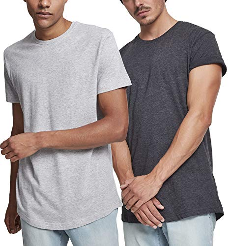 Urban Classics Herren Shaped Long Tee T-Shirt Mehrfarbig (Charcoal & Grey (2-Pack) 00084), Herstellergröße: Large (per of 2)