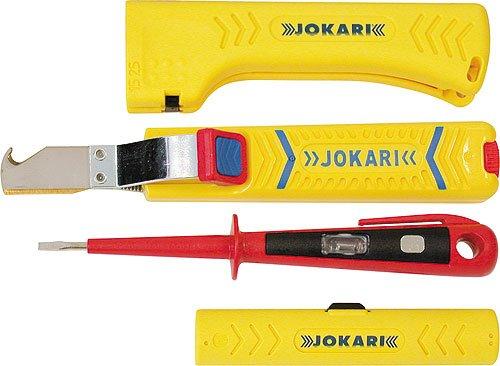 Jokari Kabelmesser 28H Secura - Entmanteler No.22 Uni Plus - Coaxial Abisolierer No. 1 und Spannungsprüfer - Set 4-teilig
