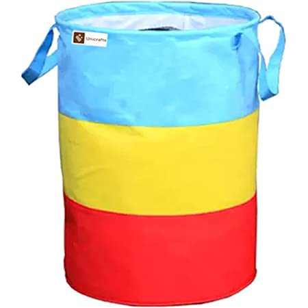 Unicrafts Laundry Bag 45 L Durable and Collapsible Laundry storage Bag with Handles Clothes & Toys Storage Foldable Laundry Bag for Dirty Clothes Pack of 1 Pc Multicolor