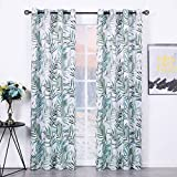 ZHUFUREN Blackout Curtains 2 Panels 52x84 Bamboo Leaves Print Curtains Thermal Insulated Grommets Drapes for Bedroom