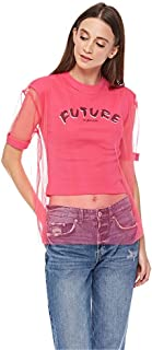 Lee Cooper Empowering Slogan T-Shirt with Mesh Outer for Women - Pink