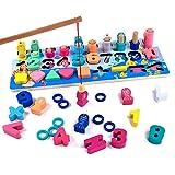 Fajiabao Jeu Montessori en Bois Bebe Puzzle Jouet de Mathématique Enfant pour Bébé Jeux de Pêche Comptage Préscolaire Apprentissage Éducatifs Jeu de Calcul pour Garçons Filles 2 3 4 Ans