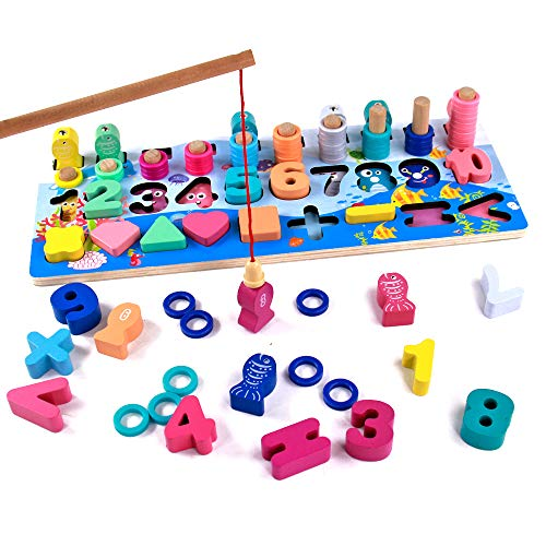 Juegos Montessori Matematicas Juguetes Educativos de Madera Juego de Pesca Magnética Juguete Madera Aprendizaje Juguetes Cálculo Preescolar Puzzle Infantil de Bloques para Niños Niñas 2 3 4 Años