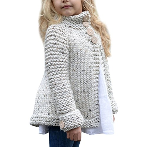 De feuilles Mädchen Strickjacke Winter Langarm Strickjacke Strickmantel
