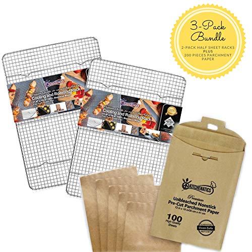 3-piece Bundle, 2 Half Sheet Racks and 200 pieces Pre-Cut Parchment Paper