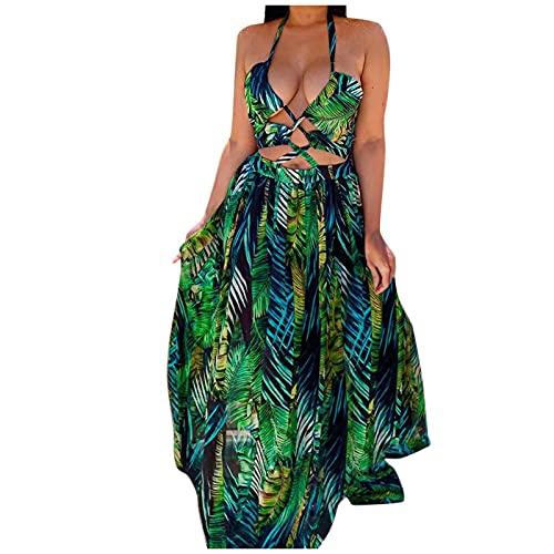 Fcostumer Evening Dress Women's Long Sexy Hollow Out Backless Cocktail Dress Fashion Elegant Prom Dress Floral Print Summer Dress Maxi Dress, 01#-green, L