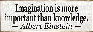 Sawdust City Wooden Sign: Imagination is More Important That Knowledge~Albert Einstein (Cottage White)
