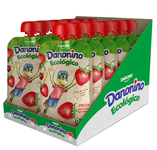 Danonino Pouch sin azúcares añadidos: Alimento Infantil Ecológico Con Fresa, Manzana Y Plátano - 12 Unidades de 90g